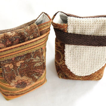 Paisley & Stripe Gift Bags Reusable Upholstery Small Striped Chocolate Brown Gold Orange Rust (Set of 2) -US Shipping Included