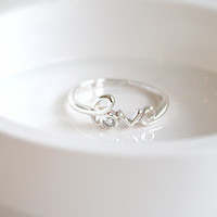 Love Silver Ring Sterling Ring .925 Silver Ring Personalized Ring