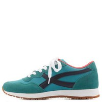 Teal Retro Color Block Sneakers by Charlotte Russe