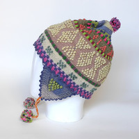 Earflap Hats, Hand knit hat, hats woman, colored with vegetable dyes, natural color, girls, peruvian, Winter Accessories