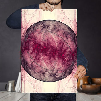 Saturn Nebula Art Print - Red Wall Art | Astronomy Poster | Abstract Geometric Planet; Science Print | Modern Bohemian Wall Decor