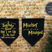 """Harry Potter """"I Solemnly Swear/Mischief Managed"""" Marauder's Map baner flag hanging wall banner flag, wall hanging decoration,wall art Gold"""
