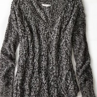 AEO Women's Cable Knit V-neck Sweater (Black)