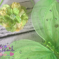 Baby Girls, Newborn Butterfly Wings with Green Newborn Headband Set, Tinkerbell Inspired, ready to ship, newborn photography props, canada
