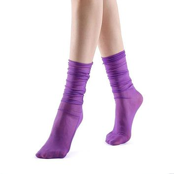 Neverminder Slouch Sheer Crew Sock | Purple