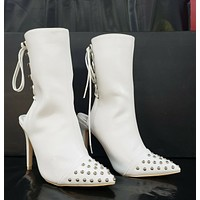 "Mac J  White Button Stud Toe 4"" High Heel Open Back Ankle Boot 5.5- 11"