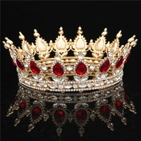 Baroque Queen King Bride Tiara Crown For Women Headdress Prom Bridal Wedding Tiaras and Crowns Hair Jewelry Accessories Gifts