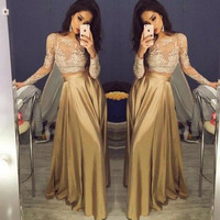 Beautiful Lace Long Sleeve Two Piece Prom Dress Pretty Gold Prom Dresses Satin Cheap Prom Gowns Sheer Golden Party Dresses RT86