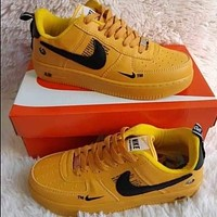 NIKE AIR FORCE 1 JUST DO IT White orange low top shoes