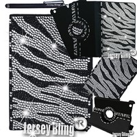 ZEBRA Jersey Bling® Ipad 2/3/4 Case with Crystals, Rhinestones Faux Leather Folio with 360 Rotating Case w/FREE Stylus