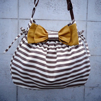 Chocolate Brown and White Striped bag + Mustard Gold Bow (Interchangeable colors)