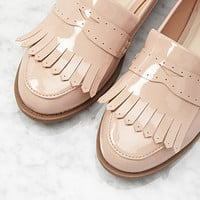Fringed Faux Patent Loafers