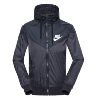 """NIKE""Fashion Hooded Zipper Cardigan Sweatshirt Jacket Coat Windbreaker Sportswear BLACK"