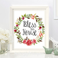 Bless this house sign, Framed quotes for the wall, Canvas welcome sign, Little blessings print, Flowers printable, Housewarming gift ideas