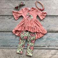 cotton bunny baby Easter silk milk outfit girls SUMMER capris clothes coral floral boutique RUFFLE with matching Accessories