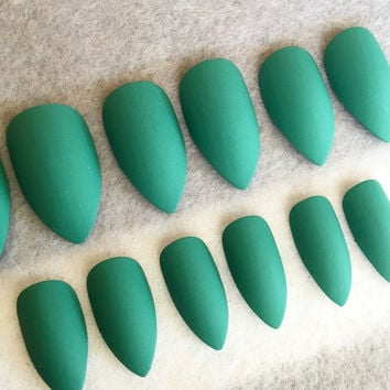 Teal Matte Fake Nails * Faux Nails * Glue On Nails * Stiletto Nails * Matte Nails