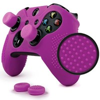 ParticleGrip STUDDED Skin Set for Xbox One by Foamy Lizard ® PATENT PENDING Silicone Skin Cover Antislip Studs PLUS a matching set of 4 AceShot Analog Thumb Grips PURPLE