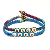 Bracelets for Couples or Best Friends, Before Anyone Else, BAE, Bright Blue and Purple Haze Hemp Jewelry