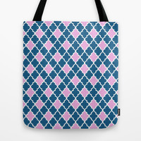 cool, modern, pretty, retro blue and pink quatrefoil graphic pattern. Tote Bag by PatternWorld