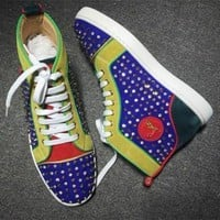 DCCK Cl Christian Louboutin Louis Spikes Style #1851 Sneakers Fashion Shoes