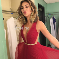 fashion backless red prom dresses 2016  elegant low v neck backless chiffon women pageant  gown for formal evening dress