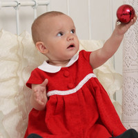 Baby girl clothes Baby girl Christmas outfit 1st birthday outfit Red jacquard dress Peter Pan collar dress Cap sleeve