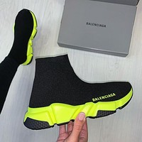 Balenciaga stitching color high-top embroidery letters platform casual shoes sneakers Yellow 1