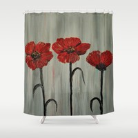 Poppy Trio Shower Curtain by RokinRonda | Society6