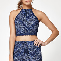 Kendall and Kylie Crochet Trim Halter Tank Top at PacSun.com