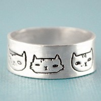 Handmade Gifts   Independent Design   Vintage Goods Cat Heads Ring  - Rings - Jewelry - Girls