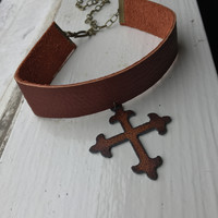 Leather Cross Choker