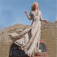 Floral Long Sleeves Bohemian Maxi Dress (Available in Plus Size)