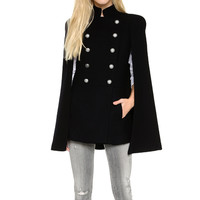Black Cape Cloak Double Breasted Irregular Hem Side Pockets Coat