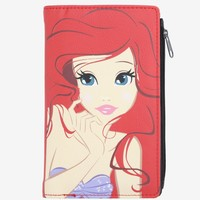 Licensed cool The Little Mermaid Ariel Red Big Face Ladies Zipper Wallet Loungefly Disney NWT