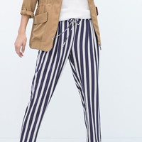 Striped trousers with stretch waist