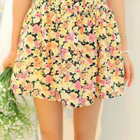 Floral High Waist Chiffon Short Mini Skirt