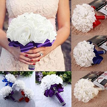 1 Bouquet Bride Wedding Party Bridesmaid Rhinestone Decor Foam Artificial Flower