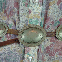 """Vintage 60s Western Brown Leather Concho Belt Tin Nickel Silver Tone Boho Chic Cowgirl Southwestern W 29"""" to 32"""""""