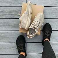 "Fashion ""Adidas"" Yeezy Boost Solid color Leisure Sports shoes Khaki"
