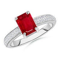 Emerald Cut Ruby Solitaire Ring With Twin Row Diamonds