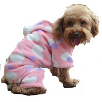 Dog Hoodie in Pink, White and Purple (Hearts and Dots)Winter Coat for Dogs (S, M, L)