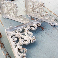 "Small Iron Brackets, Iron Shelf Brackets, Country Home, Set ,of 2, Bathroom Fixture, 6"" Brackets, Anthropologie Home"