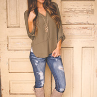V Neck Blouse- Olive