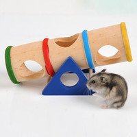 1PCS Colorful Wood Hamster Seesaw Tube Tunnel Cage House Small Pet Toy Hide Play Funny Toys for Rat Mouse Mice Hamsters S