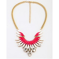Feathered Neon Pink Statement Necklace