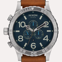 Nixon 51-30 Chrono Leather Watch Navy Combo One Size For Men 26471821101