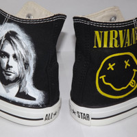 Hand Painted Custom Kurt Cobain Nirvana Converse All Star Hi Black Any Size