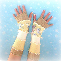 Upcycled Arm Warmers, OOAK Embroidered Arm Warmers, Fingerless Gloves, Gift for Her