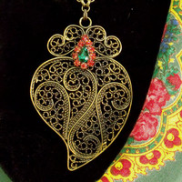 Portuguese gold filigree Viana heart folk necklace Portugal big oxidized rhinestones pendant