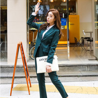 Spot 2016 Fall Pure Simple Boy friend Jacket Pants dark green elegant high end elegant attractive female two pcs women suit